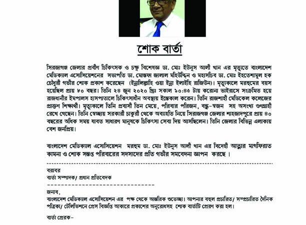 Condolence  Dr. Md. Younus Ali