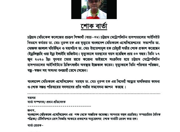 শোক বার্তা Dr. Nurul Huq