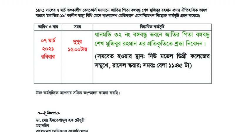 Historic 7 march Program BMA